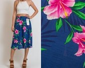 TROPICAL 60s 70s HAWAIIAN boho summer palmy floral Hawaii Beachy HIBISCUS print Vintage Skirt new with Tags