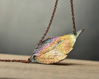 rainbow necklace electroplating copper leaf pendant womens gift for wife nature jewelry best friend gift ideas