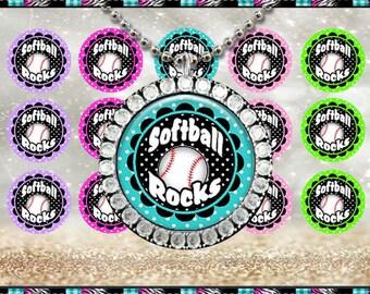 "Softball Rocks - INSTANT DIGITAL DOWNLOAD - 1"" Bottlecap Craft Images (4x6) Digital Collage Sheet"