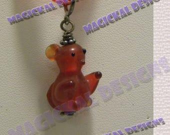 Red, Animal, Pendant, on multi strand Ribbon, necklace, teddy bear, cat, dog, mouse, stocking stuffer, teacher gift, under 10 dollars