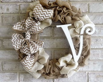"Monogrammed Natural and Ivory Burlap Wreath. 18.5"" Home decor. All seasons Wreath"