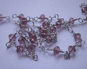 0.20 m chain silver metal trimmed glass (U8) beads