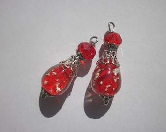 2 charms glass and metal 3,1 cm (AB22)