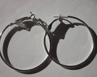 2 support creole earrings in silvery metal 4 CMS (148)