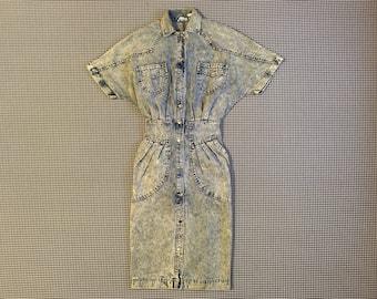 1980's, silver studded, acid wash, denim dress, Women's size 7