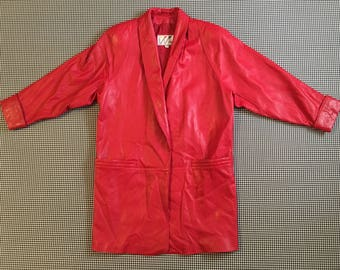 1990's, three quarter length, coat, in red leather, Women's size Medium