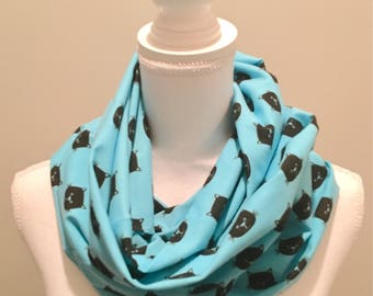 Bright Teal with Black Kitty Cat Heads Jersey Knit Infinity Scarf