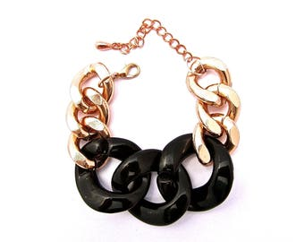 Oversize Rose Gold Chunky Chain Bracelet With Black Acrylic Links Matching Necklace Available