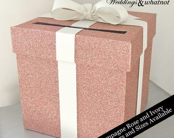 Champagne Rose and Ivory Wedding Card Box with Bow- Choose Your Colors and Size