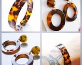 Super nice little acetate tortoise shell earrings 3cm hoop or little bracelet.