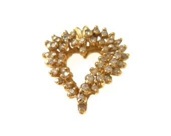 Pendant 14K Yellow Gold Heart Diamond Pendant Champagne Diamond