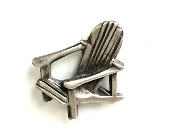 Adirondack Chair Magnetic Set - Fun Handmade Pewter Personalized Gift - Picture Frame Holder Fridge Magnet Canada Holiday Fun Rest Lazy Wood