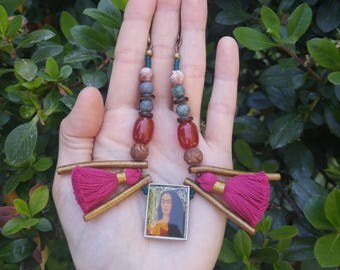 Frida Kahlo Cameo Necklace || Mixed Gemstone Necklace || Ruby Apatite, Carnelian, Agate, Coral and Tassel Necklace || Statement Neckace
