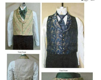 Men's Victorian Shawl Collar Vest sizes 34-58 Laughing Moon Bijoux Sewing Pattern #4 Civil War era