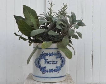 French stoneware crock blue French transferware pot ironstone crock farine French kitchenalia French country kitchen