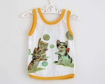 Vintage cotton tank vest with kitten motif and yellow trim, by Telsalda of London, approx 9-12 months