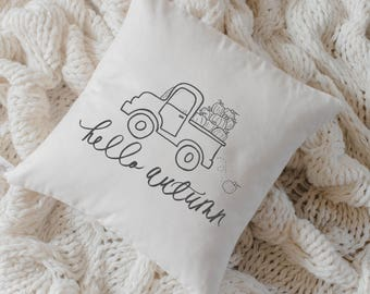 Throw Pillow - Autumn Truck, calligraphy, home decor, fall decor, housewarming gift, cushion cover, throw pillow, seasonal pillow