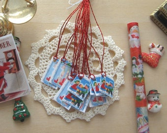 dollhouse christmas gift parcel tags carol singers vintage themed 12th scale miniature