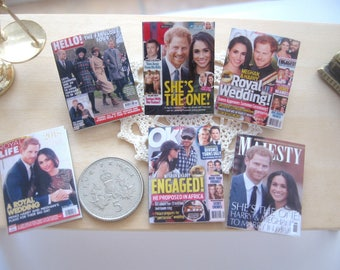 dollhouse english royal magazines harry and meghan x 6 miniature 12th scale