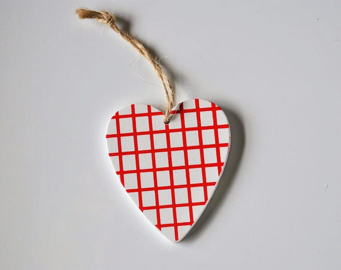 Swedish Wood Heart Ornament Hand Painted White and Red Checked Christmas Jul