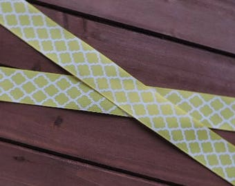 Yellow and white Moroccan print ribbon - 3 yards