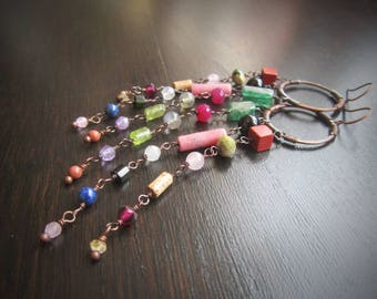 Long chandelier earrings Long boho earrings Colorful gypsy earrings Colorful earrings Boho chic earrings Bohemian jewelry Boho chic jewelry