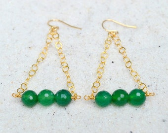 Faceted Green Agate Gemstone Earrings- Green Gemstone Earrings- 14k Gold Filled