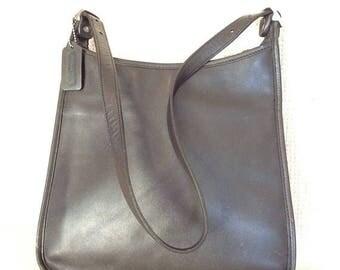 15% SUMMER SALE Vintage COACH black leather top zip shoulder bag purse