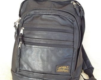 20% SUMMER SALE Genuine vintage Eddie Bauer black leather backpack rucksack multi pocket book bag