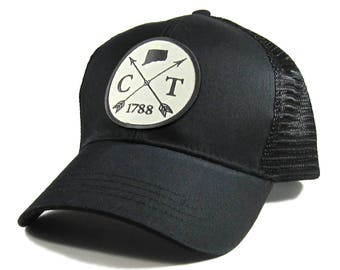 Homeland Tees Connecticut Arrow Hat - All Black Trucker