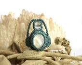 Macrame ring, rasta bead, hair accessory, mother of pearl jewelry, teal, hippie hair ring, dreadlock bead