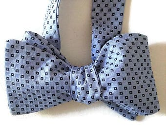 Silk Bow Tie for Men - Blue Chip -One-of-a-Kind, Self-tie - Free Shipping