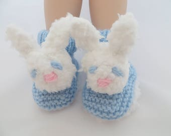 Baby Booties, Bunny Rabbit face, Baby shoes, baby booties, Baby Shower gift  Size 3 - 6 months