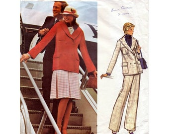 70s Vogue Couturier Design sewing patterns 1093, Valentino, double-breasted jacket sewing pattern, Bust 32.5 inches, wide leg pants