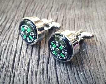 Working Compass Cufflinks - Handmade - Travel Gift