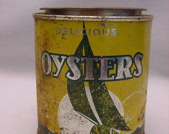Vintage Oyster Can Tin One Pint Collectible