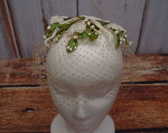 RESERVED FOR HEATHER - 1950's Ivory Birdcage Veil Net Fascinator Hat, Silk Flowers and Leaves, Faux Pearls, Velvet Ribbon