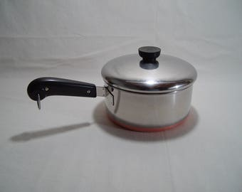 revere ware 2 quart saucepan with lid copper clad copper bottom