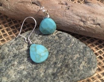 Wire Wrapped Faux Turqouise Drop Earrings