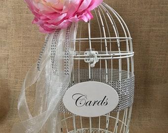 Last One!!!  Large, Distressed, Cream Wedding BirdCage Card Holder, Wedding Card Box, Wedding Money Holder, Gift Card Holder