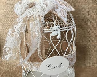 Shabby Chic Wedding Birdcage Card Holder, Wedding Money Holder, Wedding Card Box, Wedding Cash Box, Wedding Money Box, Wedding Wishing Well