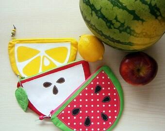 Freche Früchte Taschen, Apfel, Zitrone, Wassermelone, Geldbörse, Kinder, Reissverschlusstasche, Mädchen, Fruchtscheiben, handmade