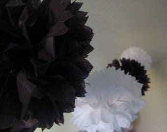 18pcs Mixed Size Black White Tissue Paper Pom Poms Hanging Decoration - Wedding Bachelorette Party Engagement Bridal Shower Graduation Decor