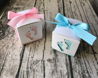 40x Baby Feet Baby Shower Favour Boxes Pink Baby Girl Blue Baby Boy Christening Baptism Thank You White Gift Box