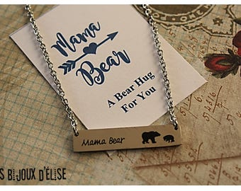 Mama Bear Bar Necklace Mama Animal Necklace Bear (CO73) - Stainless Steel