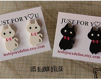 Black Cat Studs White Cat Studs Animal Earrings (BO10)