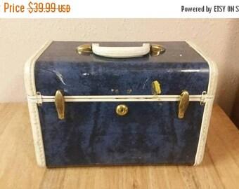 On Sale Samsonite Dark   Blue and Tan Train Case or Make Up Bag Vintage Luggage