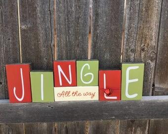 Christmas wood blocks--Jingle all the way, Jingle bell