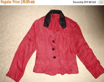 50% OFF Red and Black Plaid Jacket button upSize Medium 40 in bust 25 in length