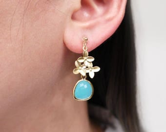 Gold Cherry Blossom Sky Blue Invisible Clip On Earrings, Clip On Earrings, Non pierced Earrings